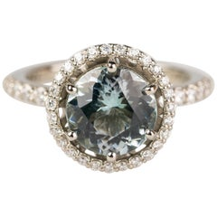 18 Karat White Gold 2.66 Carat Blue Green Tourmaline Ring with a Diamond Halo