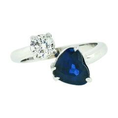 18K White Gold 2.71ct GIA Heart Blue Sapphire Diamond Moi et Toi Bypass Ring