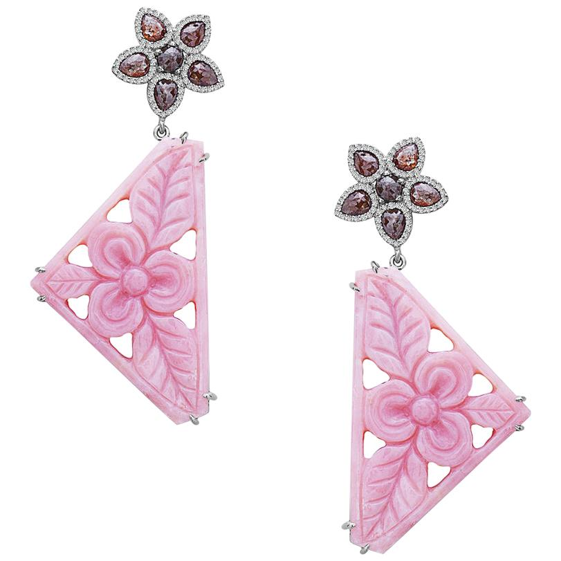 18k White Gold 3.43 Ct Diamond 45.8 Ct Pink Opal Floral Carving Dangle Earrings