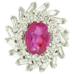 18k White Gold 3.98ctw GIA No Heat Burma Burmese Pink Sapphire & Diamond Ring