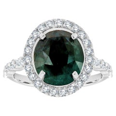 18K White Gold 4.31 CT Oval Teal Color Un-Heated Sapphire Diamond Halo Ring GIA