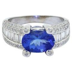 18k White Gold 4.54ct VS-SI/F Diamond & Tanzanite Cocktail Ring