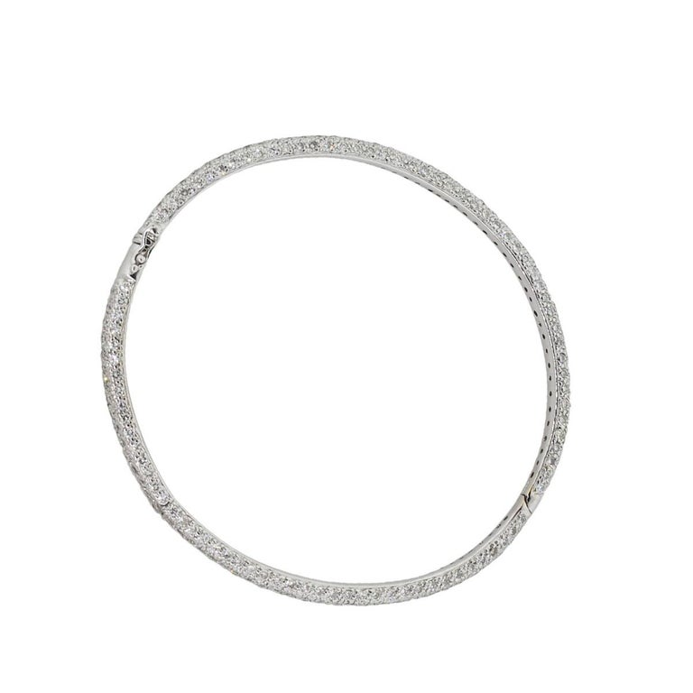 Round Cut 18 Karat White Gold 4.58 Carat Diamond Pave Bangle For Sale