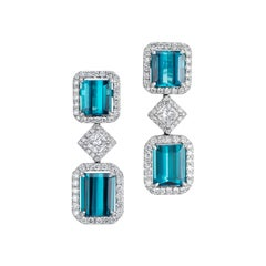18K White Gold 4.6 Carat Blue Tourmaline Diamond Earrings