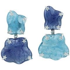 18k White Gold 54.9ct Aquamarine 53.76ct Tanzanite Diamond Dangle Drop Earrings