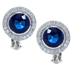 18 Karat White Gold 5 Carat Sapphire and Diamond Halo Earrings