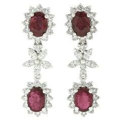 18k White Gold 6.02ctw GIA Oval Ruby & Marquise Diamond Flower Dangle Earrings