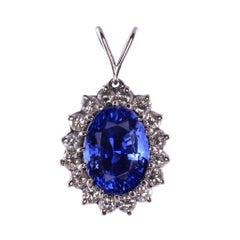 18K White Gold 6.50 Carat Sapphire Pendant with Diamonds