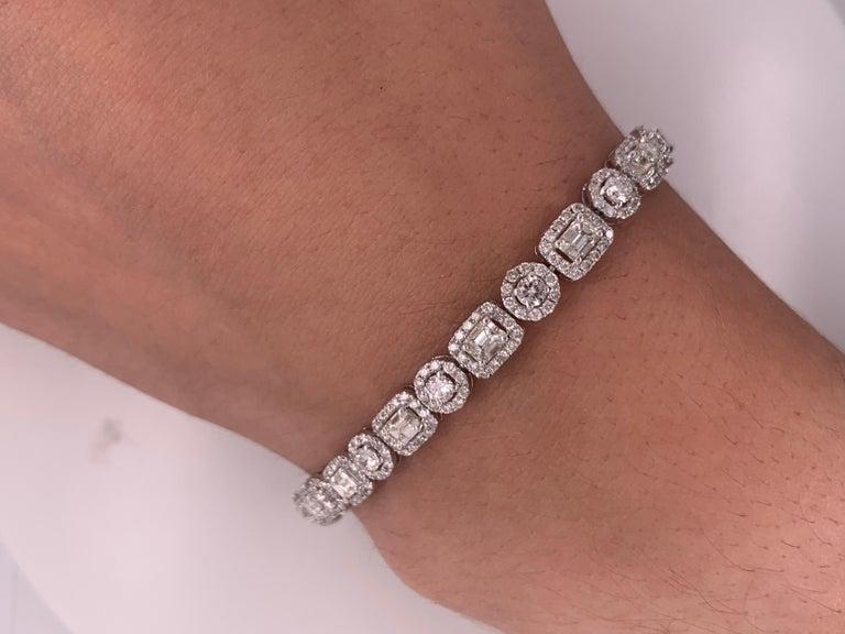 Multi shaped Diamond Tennis Bracelet, features 8.00 Carats of emerald cut and round brilliant cut diamonds.  7