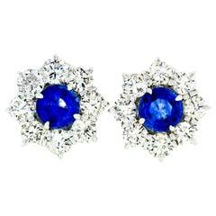 18k White Gold 8.50ctw GIA Ceylon Sapphire Diamond Halo Flower Cluster Earrings