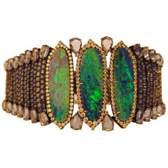 18k White Gold 8.9 Karat Opal 0.9 Karat Sapphire 0.01 Karat Diamond Bracelet