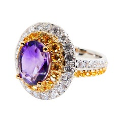 18k White Gold Amethyst Cocktail Ring with Fancy Vivid Yellow and White Diamonds