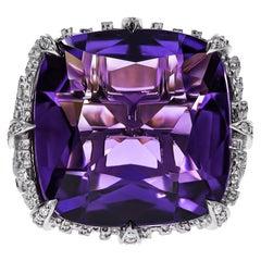 18K White Gold, Amethyst & Diamond Dendritic Ring