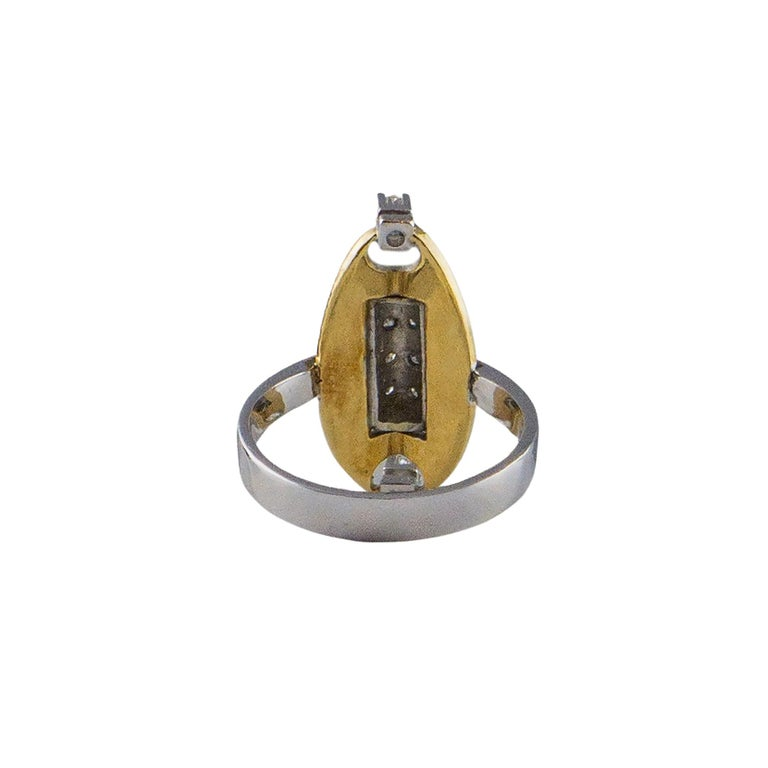 Modern 18 Karat White Gold an Yellow Gold Ring with 10 Diamonds For Sale