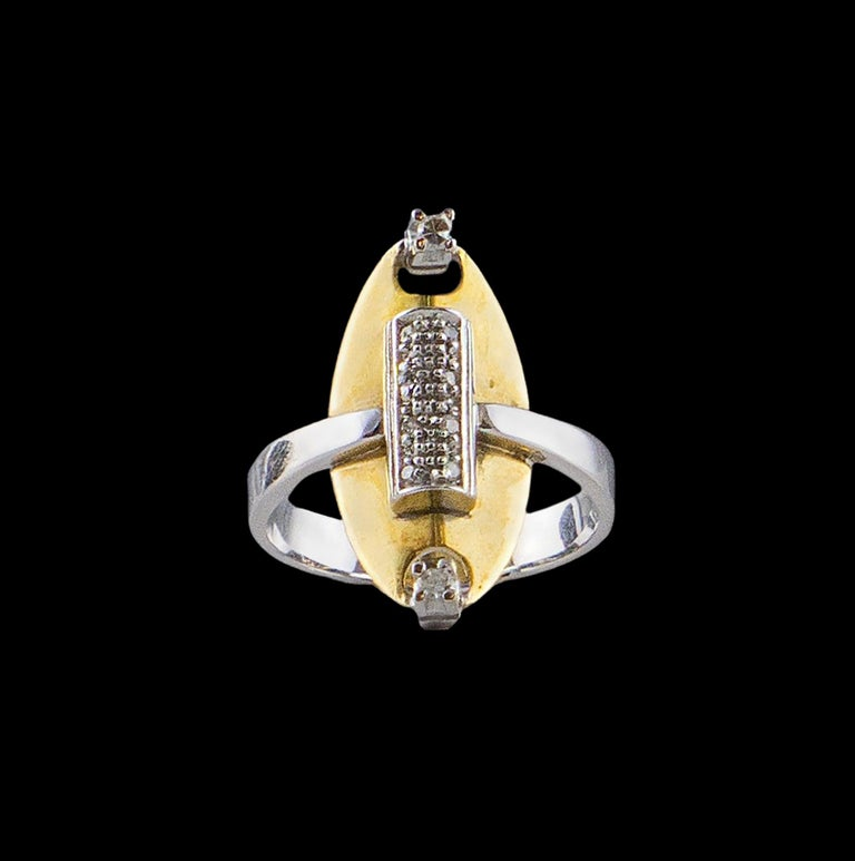 Brilliant Cut 18 Karat White Gold an Yellow Gold Ring with 10 Diamonds For Sale