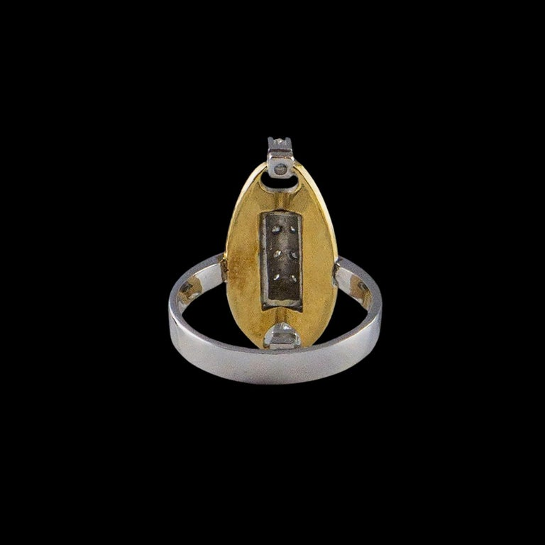 Women's 18 Karat White Gold an Yellow Gold Ring with 10 Diamonds For Sale
