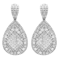 18K White Gold and 10.42 Ct Round Baguette Princess Cut Diamonds Drop Earrings