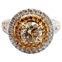 18k White Gold and 1.09ct Round Brilliant Cut Yellow Diamond Ring with Accents