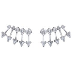 18k White Gold and 2.01 Carat Colorless Diamond Spear Earrings by Alessa Jewelry