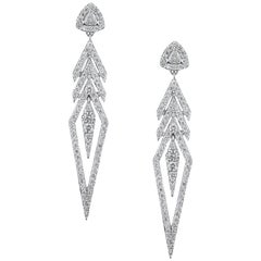 18K White Gold and 2.92 cts Colorless Diamond Arrow Earrings by Alessa Jewelry