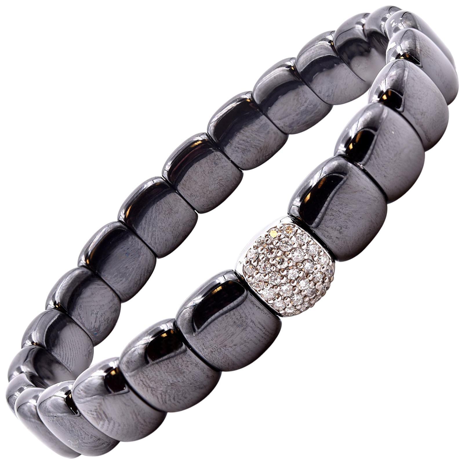 18 Karat White Gold and Black Ceramic Diamond Bracelet