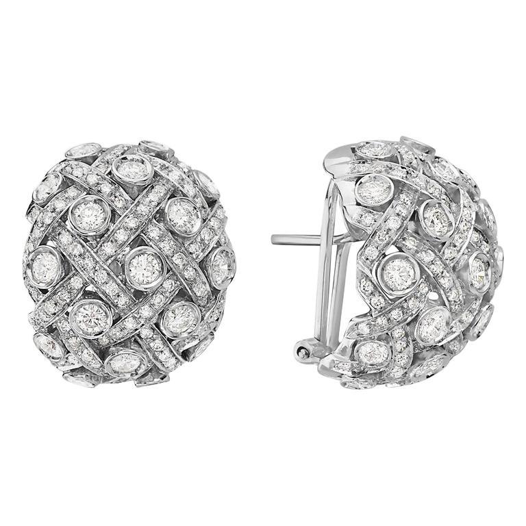 18 Karat White Gold and Diamond Earrings For Sale