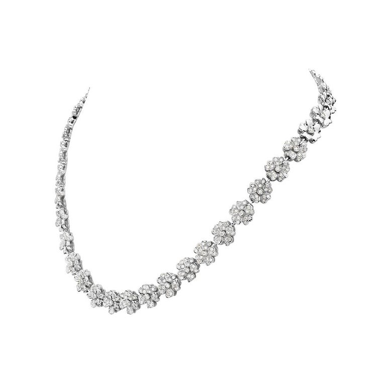 This necklace features 4.20 carats of G VS round pave diamonds set in 18K white gold. 61 grams total weight. 7.5 inch drop. Made in Italy.   Viewings available in our NYC showroom by appointment.