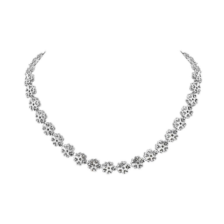 Contemporary 18 Karat White Gold and Diamond Flower Riviera Necklace For Sale