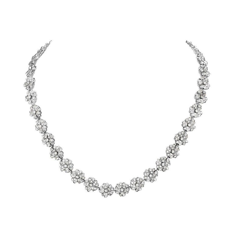 18 Karat White Gold and Diamond Flower Riviera Necklace For Sale