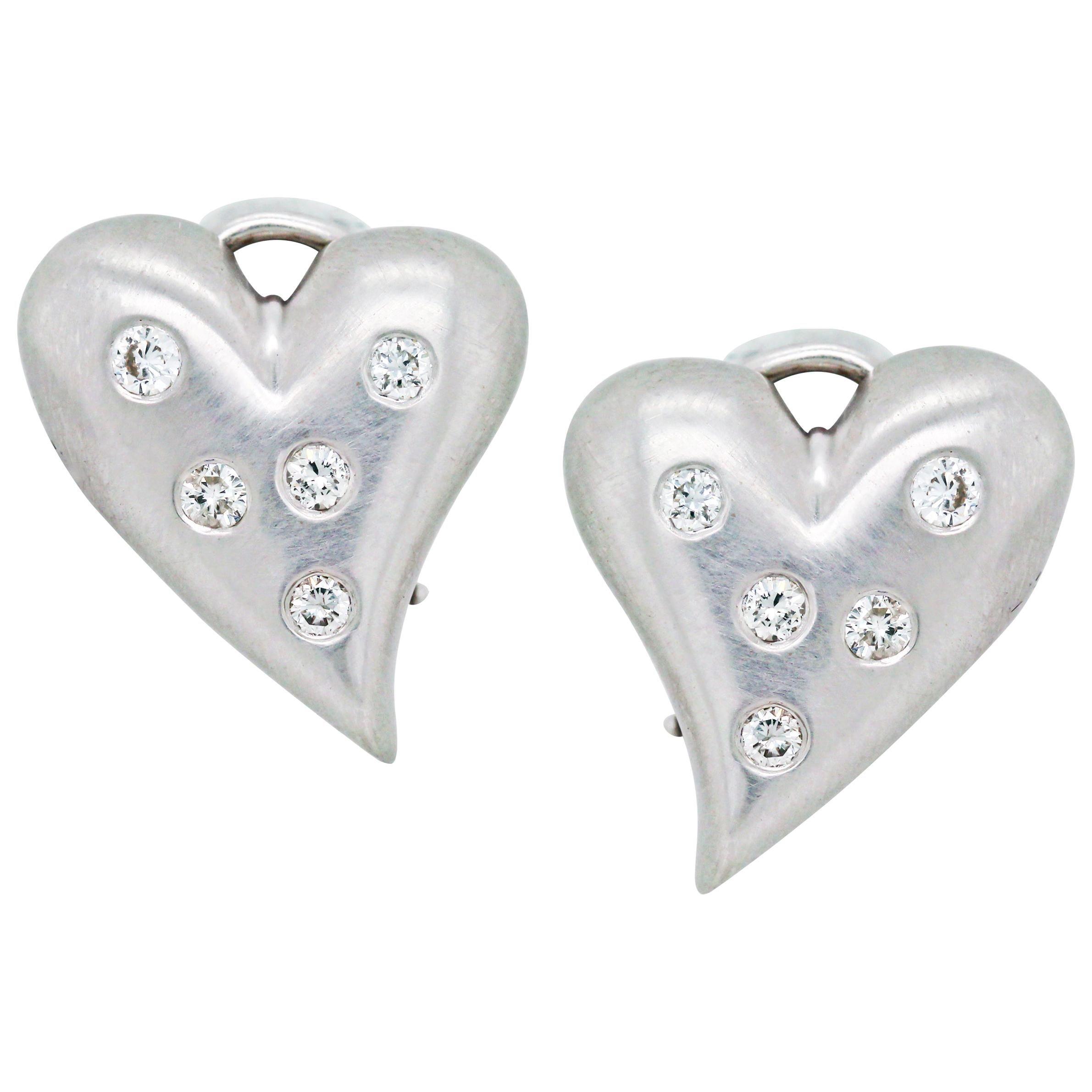 18 Karat White Gold and Diamond Heart Earrings