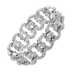 18 Karat White Gold and Diamond Link Bracelet