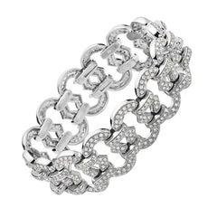 18 Karat White Gold and Diamond Link Bracelet