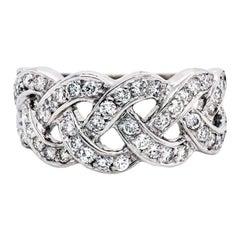 18 Karat White Gold and Diamond Spiral Band Ring
