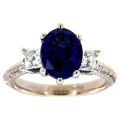 18K White Gold and Platinum Oval Sapphire Diamond Ring GIA 'Center, 3.53 Carat'