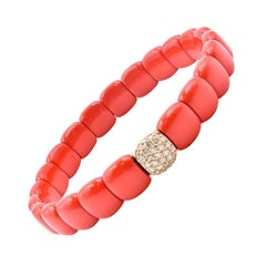 18 Karat White Gold and Red Ceramic Diamond Bracelet