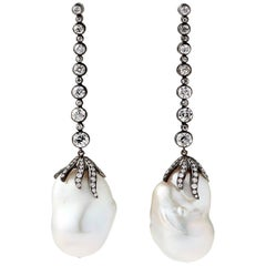 18k and Silver Diamond Freshwater Pearl Claw Detachable Chandelier Earrings