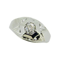 18k White Gold Art Deco 1/2ct Genuine Natural Diamond Men's Ring '#J4636'