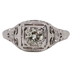 18 Karat White Gold Art Deco Ring with Modified Round Brilliant Cut Diamond