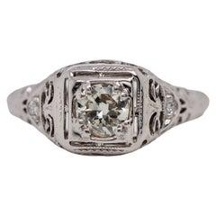 18 Karat White Gold Art Deco Ring with Modified Round Brilliant Cut Diamond