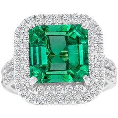18K White Gold Asscher Green Emerald Double Halo Diamond Ring 'Center-5.21 CT'