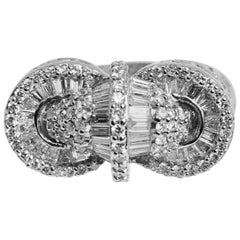 18 Karat White Gold Baguette Round Diamond Medley Big Cocktail Ring