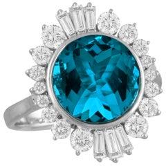 18K White Gold Ballerina Cocktail Ring w/London Blue Topaz & Baguette Diamonds