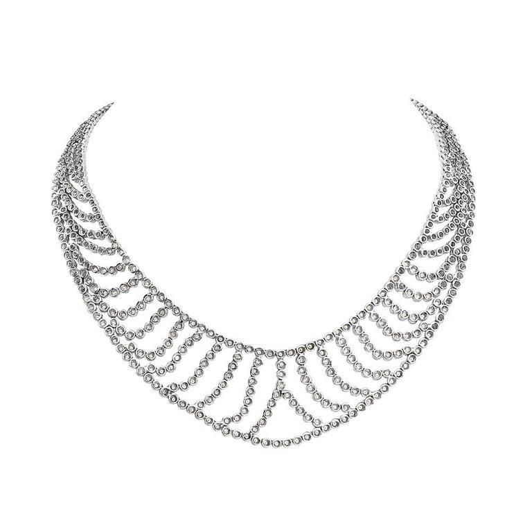 Modern 18 Karat White Gold Bib Necklace For Sale
