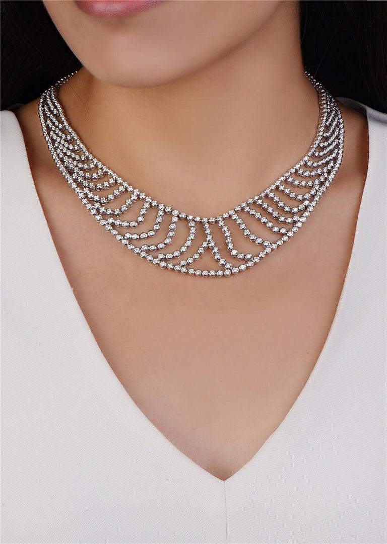 Round Cut 18 Karat White Gold Bib Necklace For Sale