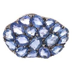 18k White Gold Blue Sapphire and Diamond Wavy Ring