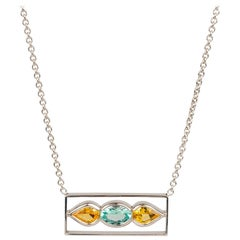 18k White Gold Blue Tourmaline and Yellow Sapphire Bar Necklace