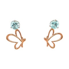18k White Gold Blue Tourmaline Studs with 18k Rose Gold Butterfly Jackets