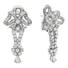 18 Karat White Gold Bow Drop Diamond Dangle Chandelier Earrings