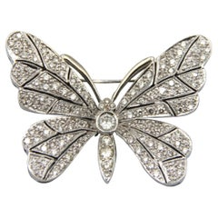 18k White Gold Butterfly Diamond Brooch