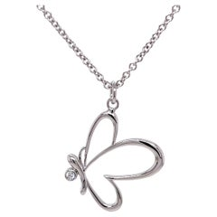 18k White Gold Butterfly Pendant with a White Diamond